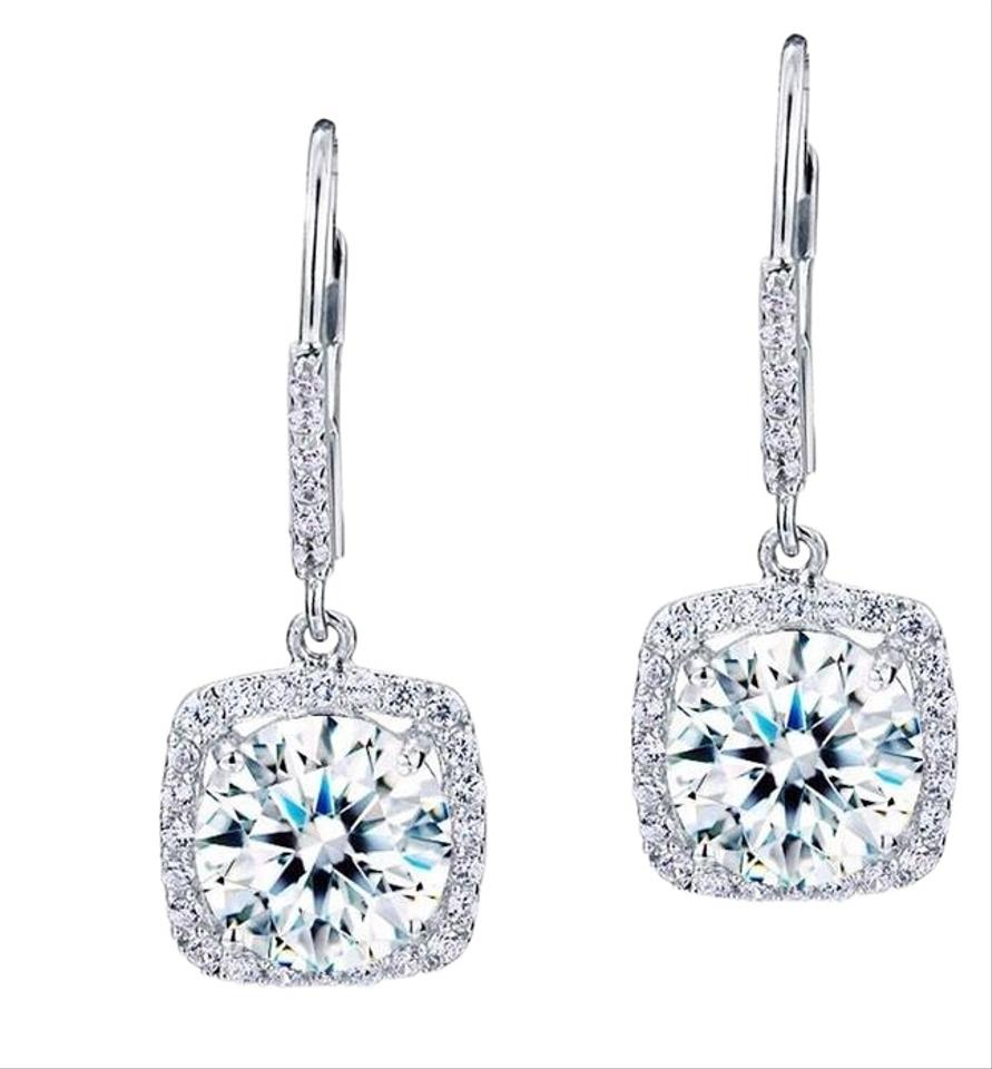 a5f222926 Other Glamorous 5 Carat VVS1 round cut lab created diamond Solid 925  Sterling Silver Halo Dangle ...