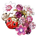 Other Gorgeous statement Red Ladybug Pink Flower Ring with Austrian Crystals