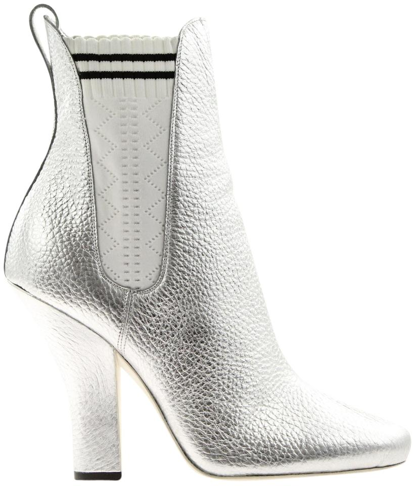 9622a0d719 Fendi Silver Marie Antoinette Metallic Leather White Sock Chelsea Ankle  Boots/Booties Size EU 40 (Approx. US 10) Regular (M, B) 62% off retail