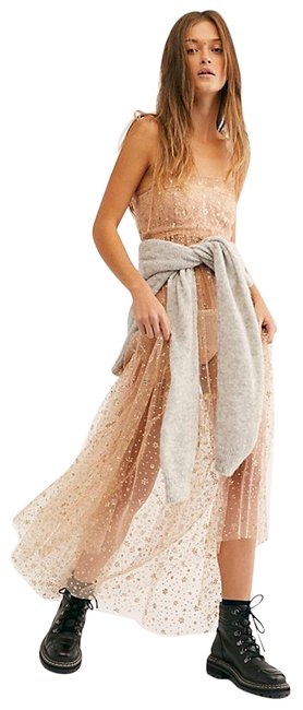Item - Beige Gold Estella Glitter Maxi Slip Long Night Out Dress Size 6 (S)
