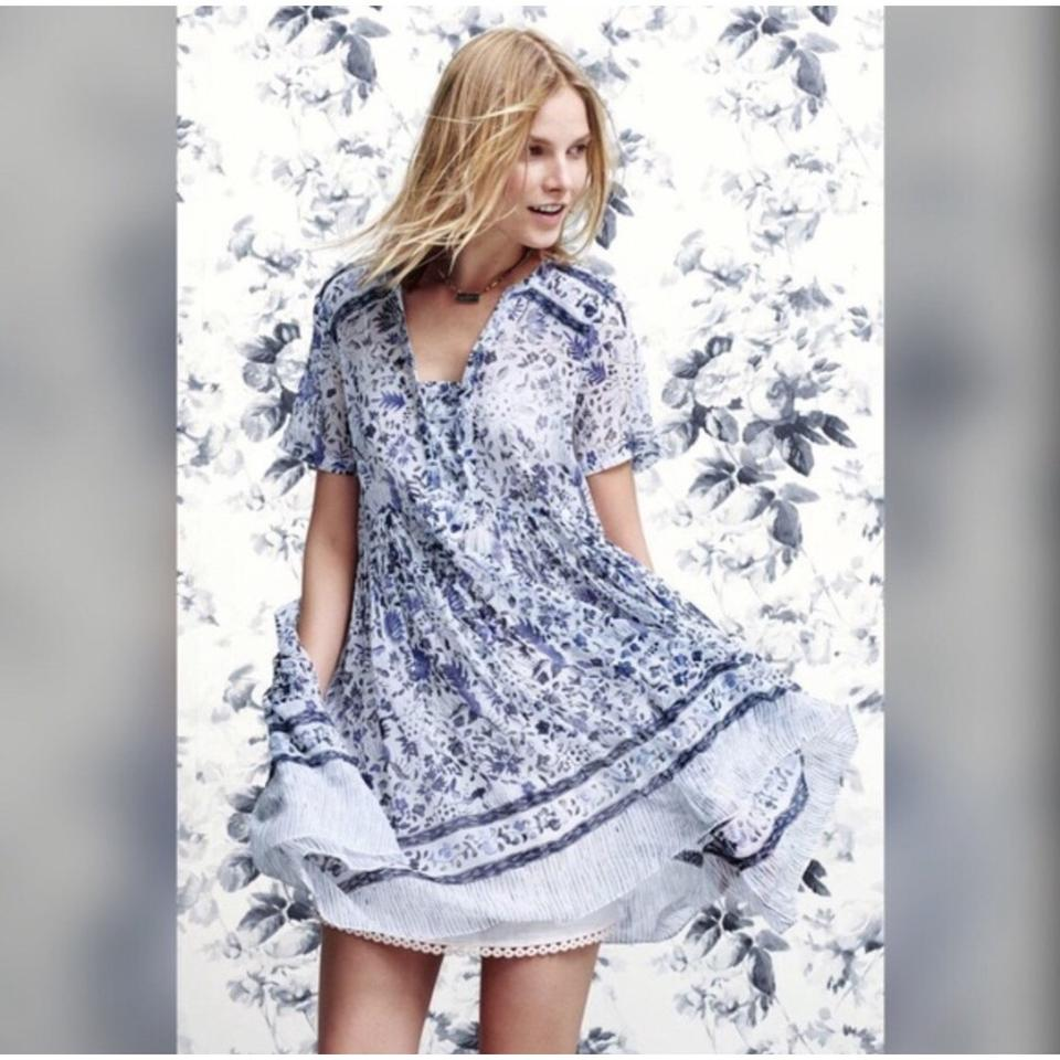 8836c150a8136 Anthropologie Maeve Morning Mist Mid-length Short Casual Dress Size ...
