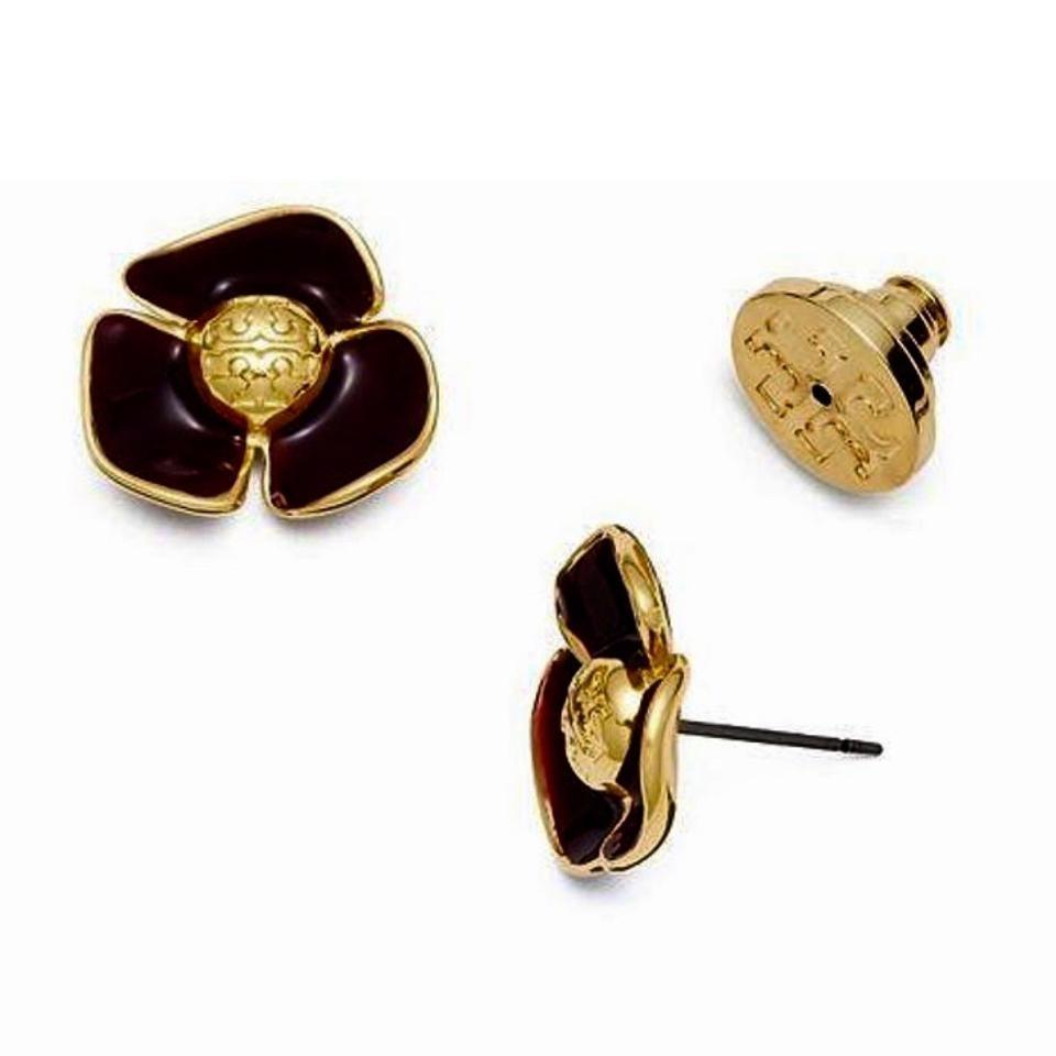 21599547a Tory Burch Black Fleur Flower Earrings - Tradesy