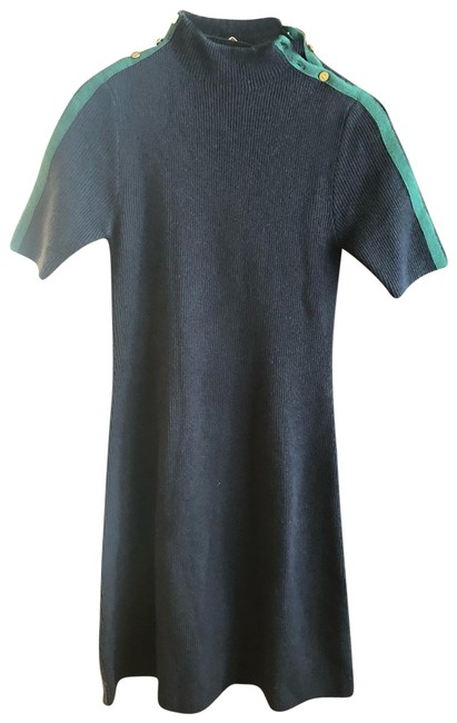 Item - Navy Green Wool Mid-length Short Casual Dress Size 4 (S)