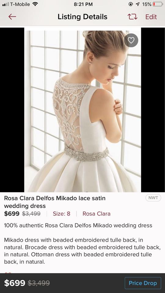 b3994299f0f5 Rosa Clará Delfos Mikado Lace Satin Formal Wedding Dress Size 10 (M) Image  8. 123456789