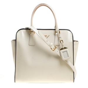 Prada Patent Leather Nylon Tote in Cream