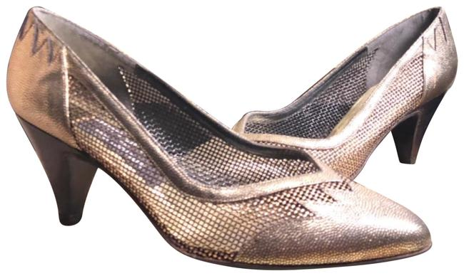 """Item - Gold/Silver/Copper 6-vintage (For Martinique) Leather Gold/Silver/Copper Vented 3"""" Pumps Size US 6 Regular (M, B)"""