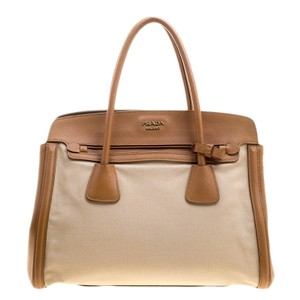 Prada Canvas Leather Tote in Brown