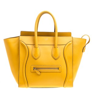 Céline Leather Suede Tote in Yellow