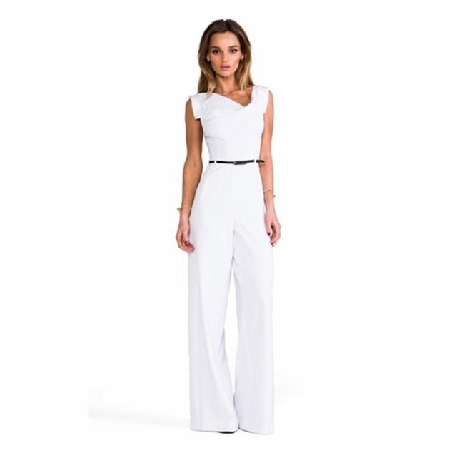 Item - White Jackie O Cap-sleeve Belted Wide-leg Romper/Jumpsuit