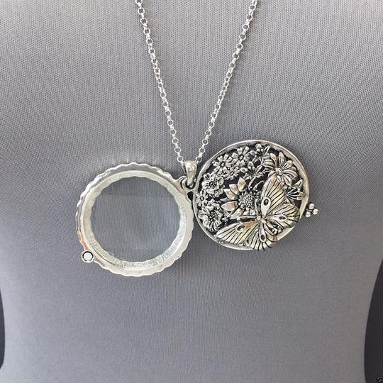 Generic Silver Finish Chain Butterfly Sunflower 5x Magnifying Glass Necklace Image 1