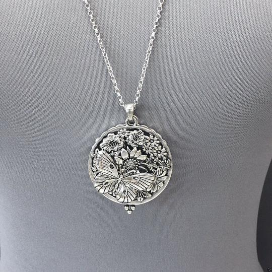 Generic Silver Finish Chain Butterfly Sunflower 5x Magnifying Glass Necklace Image 2