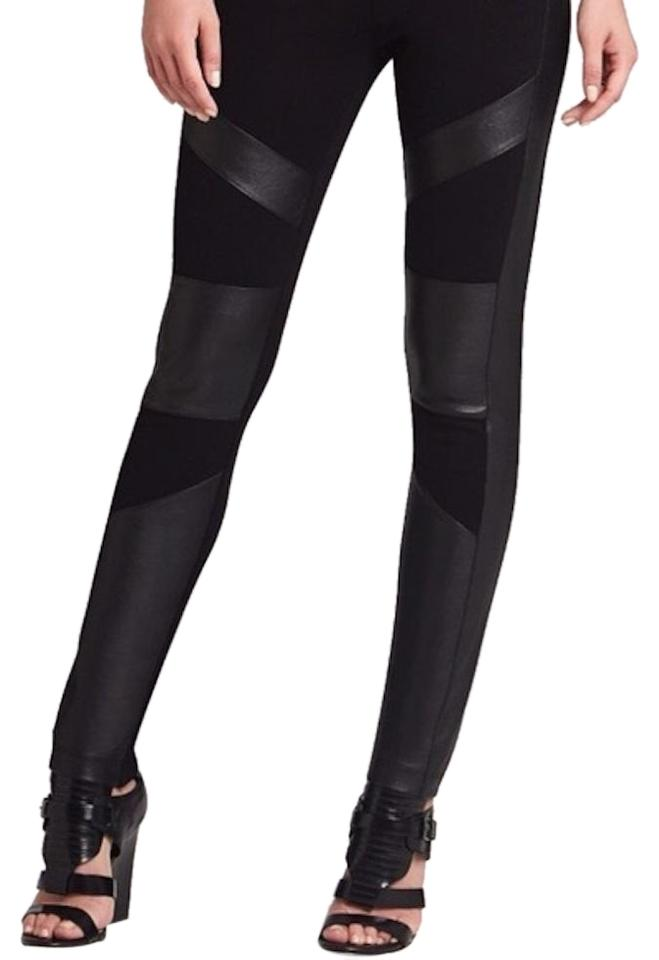 d67338ea69176 BCBGMAXAZRIA Black Bayle Faux Leather Blocked Pants Leggings Size 00 ...