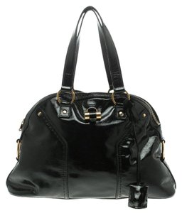 Saint Laurent Patent Leather Satin Tote in Black