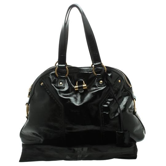 Saint Laurent Patent Leather Satin Tote in Black Image 11