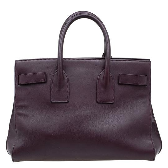 Saint Laurent Leather Suede Tote in Burgundy Image 1