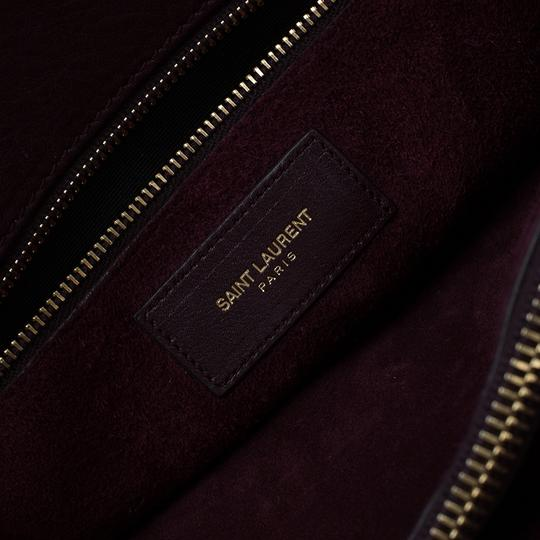 Saint Laurent Leather Suede Tote in Burgundy Image 10