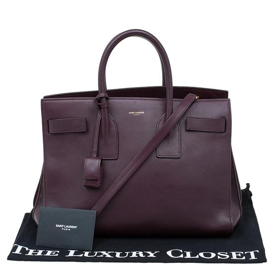 Saint Laurent Leather Suede Tote in Burgundy Image 11