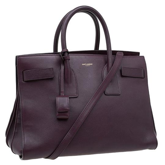 Saint Laurent Leather Suede Tote in Burgundy Image 3