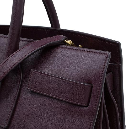 Saint Laurent Leather Suede Tote in Burgundy Image 5