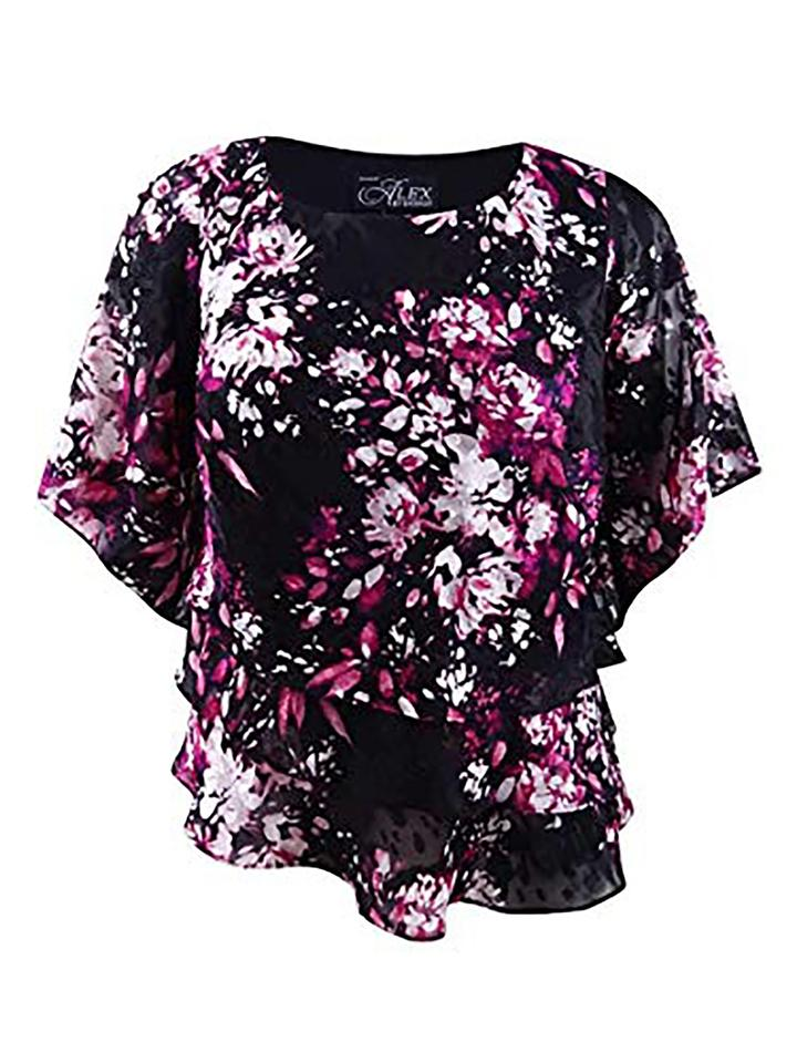 54fd7d6c5a7512 Alex Evenings Black Women's Asymmetric Tiered Chiffon Shirt Blouse. Size:  26 (Plus ...