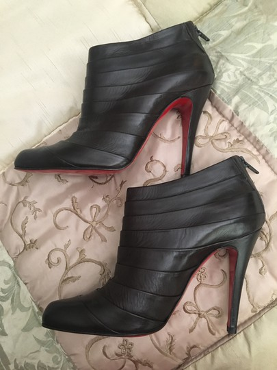 Christian Louboutin Orniron Ankle Pleated Ankle Dark Brown Boots Image 1