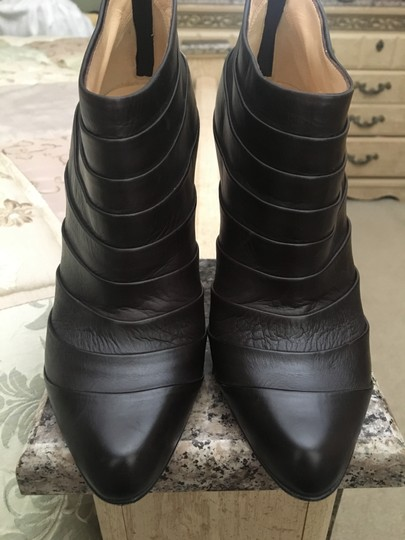 Christian Louboutin Orniron Ankle Pleated Ankle Dark Brown Boots Image 3