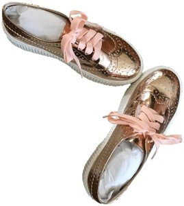 Shellys London Platform Sneakers Leather Oxford Brogue Rose Gold Metalic Flats