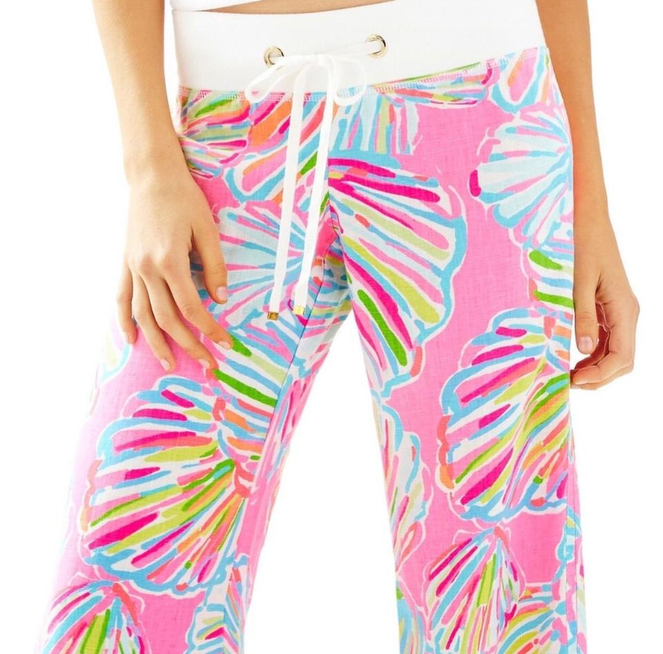 49224652411d88 Lilly Pulitzer Pink Multi Color Linen Beach Pants Size 8 (M, 29, 30 ...