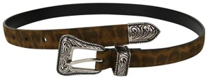 Saint Laurent Unisex Leopard Brown Suede Leather Belt 65/26 346571 9848
