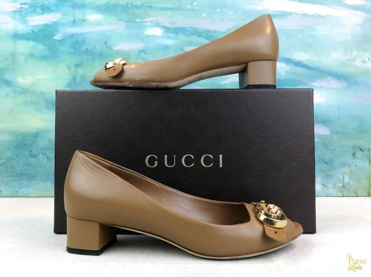 Gucci Nappa Peep Leather Beige Pumps Image 1