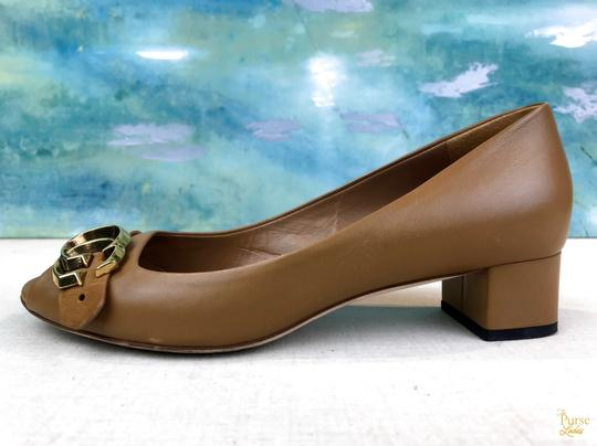 Gucci Nappa Peep Leather Beige Pumps Image 4