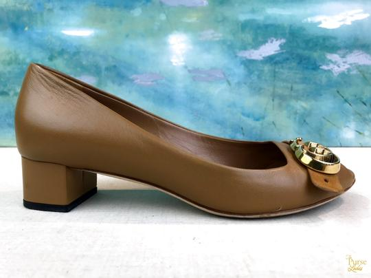 Gucci Nappa Peep Leather Beige Pumps Image 5