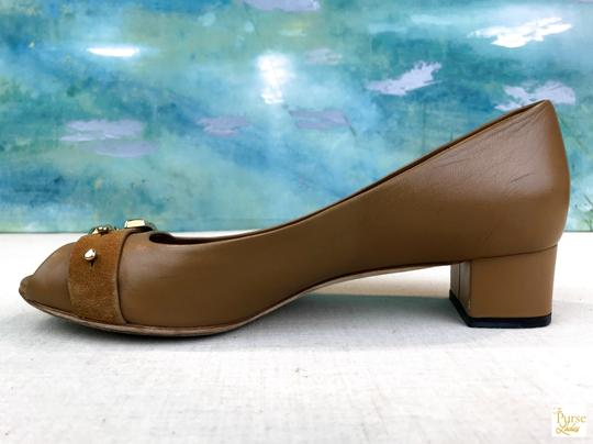 Gucci Nappa Peep Leather Beige Pumps Image 6