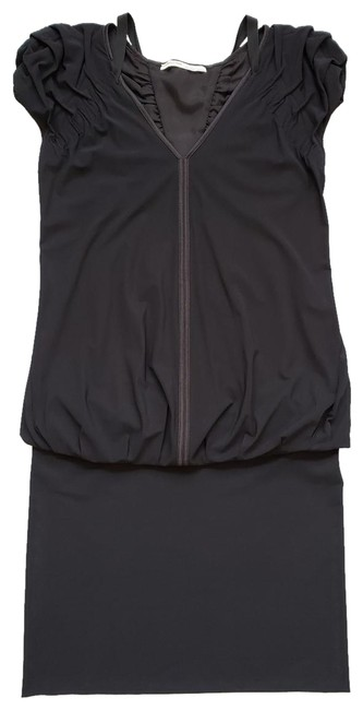 Item - Black Stretch Drop Waist Ruched Cap Sleeve Fr 36 It 40 Mid-length Short Casual Dress Size 4 (S)