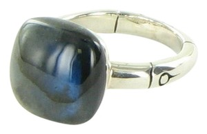 John Hardy Bamboo Orb Ring with 14mm Labradorite Sterling Silver Sz 7 New