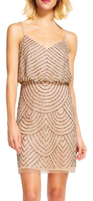 Item - Taupe/Blush Beaded Sequin Mid-length Cocktail Dress Size 2 (XS)
