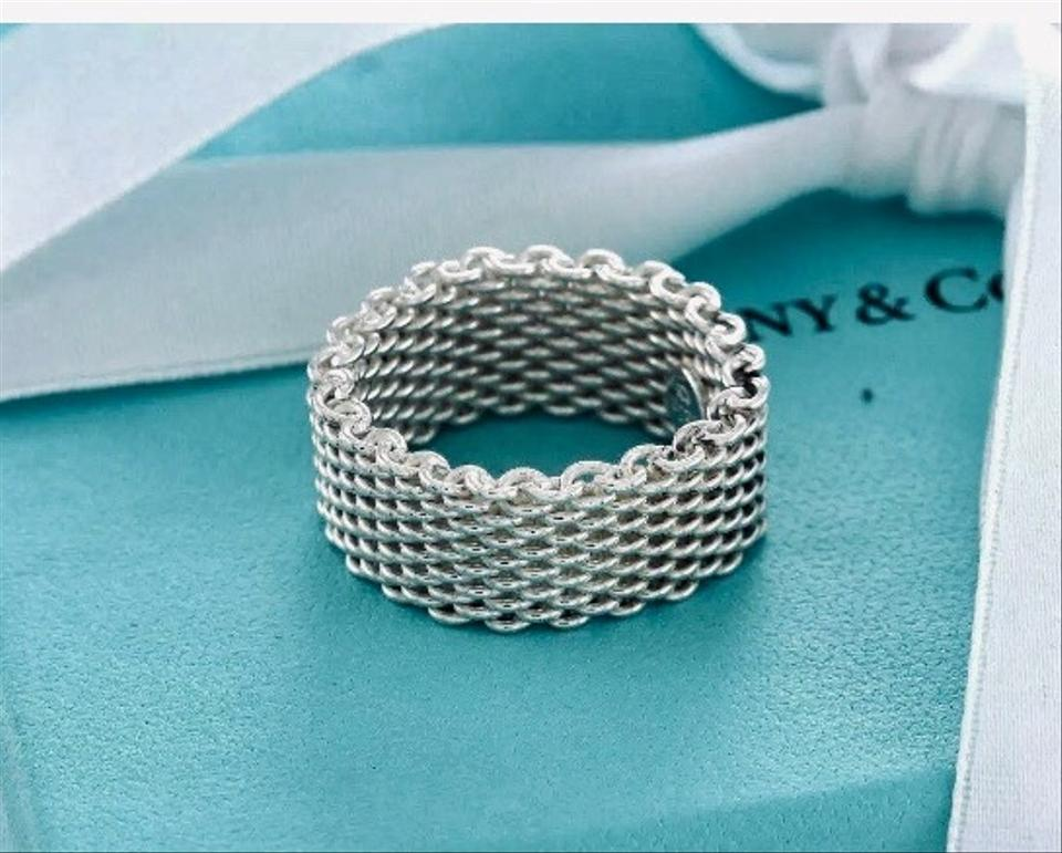 d4f52c1369ddb Tiffany & Co. Silver Somerset Mesh Wide Band Size 10 Ring 63% off retail