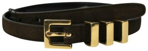 Saint Laurent Unisex Brown Suede Leather CLASSIC 3 PASSANTS Belt 75/30 314629 2551