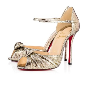 Christian Louboutin So Kate Nude Patent Patent Leather Gold Pumps