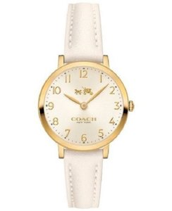 Coach NEW WOMEN'S COACH (14502564) SLIM GOLD TONE WHITE LEATHER STRAP WATCH