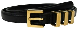 Saint Laurent Unisex Black Leather CLASSIC 3 PASSANTS Belt 80/32 314629 1000