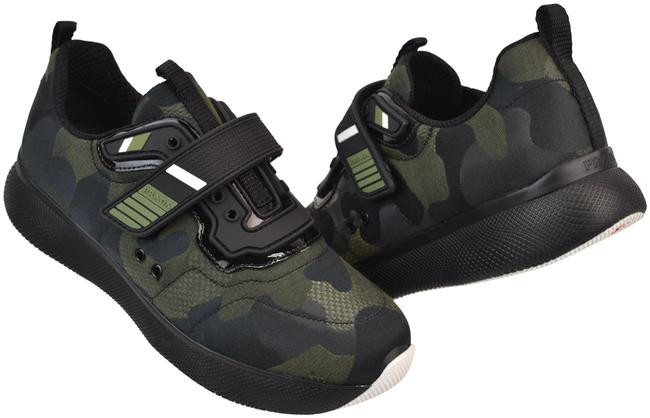 Item - Green Camouflage Fabric Black Patent Leather Logo Contrast Strap Sneakers Size EU 36 (Approx. US 6) Regular (M, B)