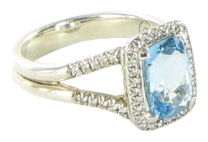 John Hardy Classic Chain Blue Topaz Diamond 0.22cts Ring Sterling Silver Size 7