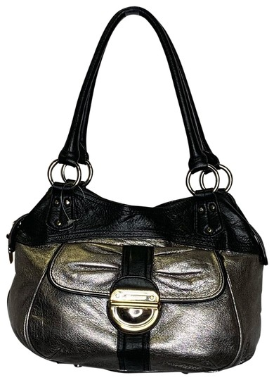 B Makowsky Handbag Silver And Black