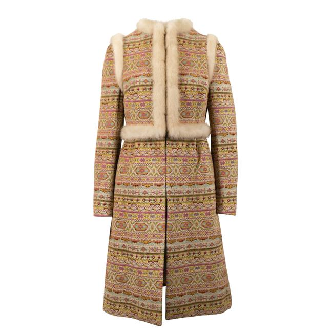 Valentino Tan/Multi-color Tribal with Trim Coat Size 6 (S) Valentino Tan/Multi-color Tribal with Trim Coat Size 6 (S) Image 1