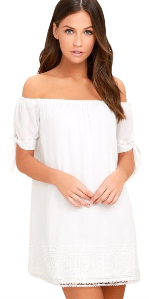 Lulus White Moment In The Sun Lace Off The Shoulder Short Casual Dress Size 8 M