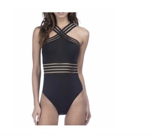 ee0bbf631d2 Kenneth Cole KENNETH COLE STOMPIN IN STILETTOS ILLUSION STRIPED SWIM SUIT M  BLACK