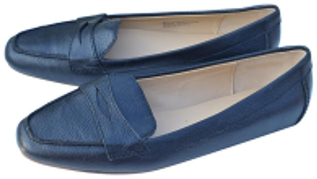 Item - Navy Blue Leather Loafers Flats Size US 8 Regular (M, B)