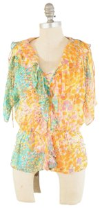 MILLY Draped Layered Confetti Print Top multicolor