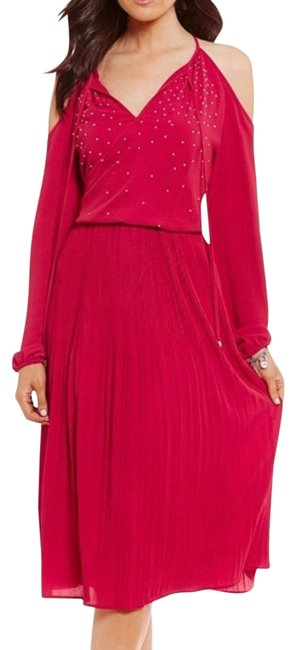 Item - Red Studded Embellished Cold Shoulder Raspberry Pleated Mid-length Cocktail Dress Size 0 (XS)
